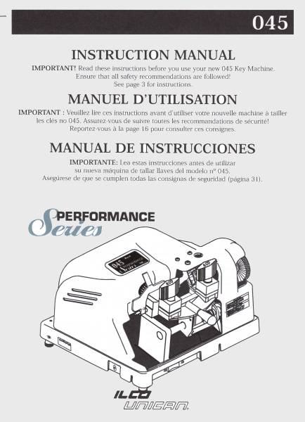 ilco 045 key machine parts