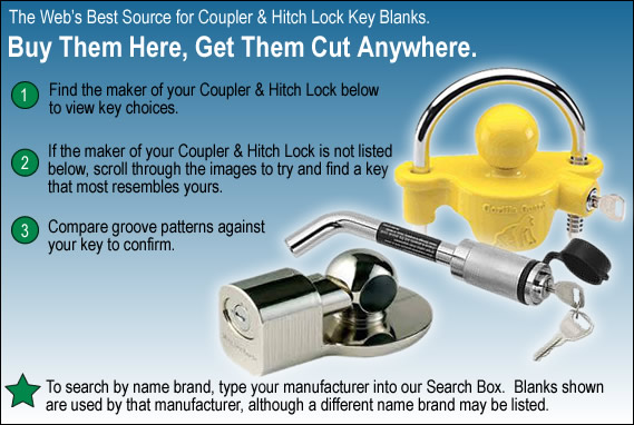 Wholesale Coupler And Hitch Lock Key Blanks And Key Machines
